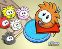 Orange puffle trampoline and puffles