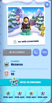 Tarjeta de Jugador Kezacoa Isla de Club Penguin