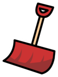 Red Snow Shovel Pin