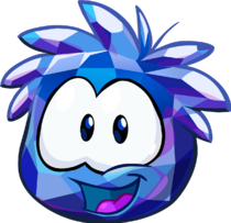 Blue Crystal Puffle smiling