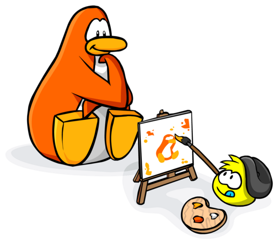 File:Homepage Painting Puffle and Orange Penguin.png