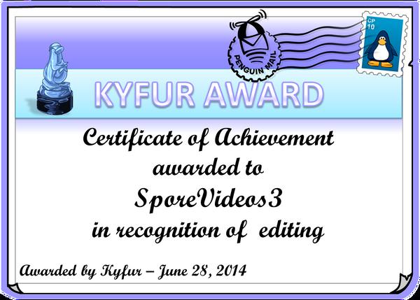 SporeVideos3Award