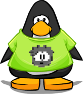 Black Pixel Puffle Tee on a Player Card