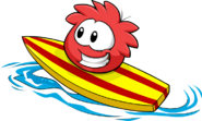 Red Puffle Catchin' Waves
