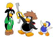 Kingdom Hearts Sora,Donald and Goofy In Club Penguin.