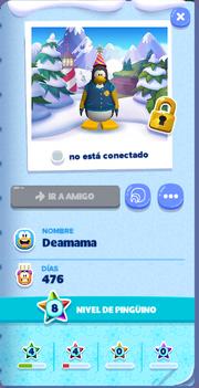 Tarjeta de Jugador Deamama Isla de Club Penguin