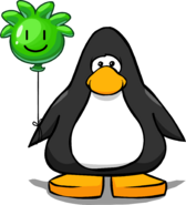 Green Puffle Balloon on a Player Card