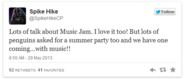 Spike Hike Confirm Tweet for Summer Music Jam