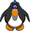 Pinguino con lampara en su cabeza