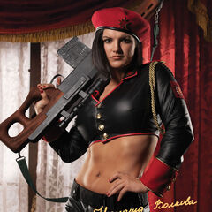 Джина Карано в образе Наташи Волковой на официальном рекламном изображении Red Alert 3