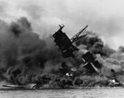 220px-The USS Arizona (BB-39) burning after the Japanese attack on Pearl Harbor - NARA 195617 - Edit