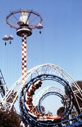 Corkscrew and Sky Jump, Knott's Berry Farm, circa 1980