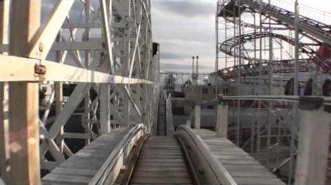 Scenic Railway Wooden Roller Coaster POV Luna Park Melbourne Australia