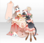 (Avatar Decor) Tea Party Table with Cats ver.A pink
