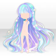 (Hairstyle) Shiny Stained Glass Braided Long Hair ver.A blue