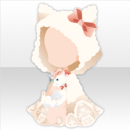 (Head Accessories) Tea Party Fluffy White Cat Hood ver.A white