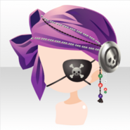 (Head Accessories) Pirate Woman Bandana & Skull Patch ver.A purple