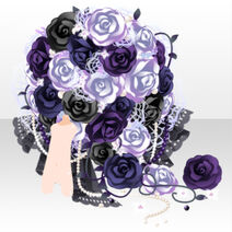 (Back Accessories) Moonlit Blooming Rose Bouquet ver.A black