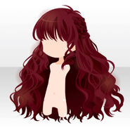 (Hairstyle) Side Braided Wavy Long Hair ver.A red