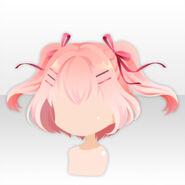 (Hairstyle) Royal Girl Twin Half Up Bob Hair ver.A pink