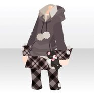 (Tops) Cute Check Outfit Set ver.A black