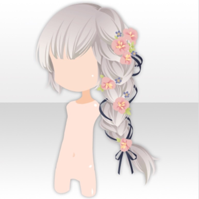 Image Hairstyle Flower Side Ponytail Hair Ver A Gray