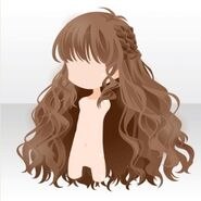 (Hairstyle) Side Braided Wavy Long Hair ver.A brown