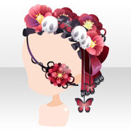 (Face Accessories) Flower Eyepatch & Skull Headdress ver.A red