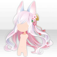(Hairstyle) Fox Ears on Wavy Long Hair ver.A pink