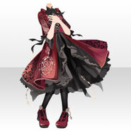 (Tops) Night Phantom Mademoiselle Frill Dress ver.A red