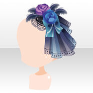 (Head Accessories) Ghost Bride Veil on Flower Pedal Hat ver.A blue