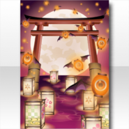 (Wallpaper Profile) Mononoke Flying Lantern Bats Wallpaper ver.A orange