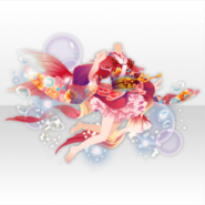 (Tops) Blooming Flowers Floating Goldfish Style ver.A red