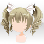 (Hairstyle) Soin Cat Ear Bows on Curly Twin Tails Hair ver.A yellow