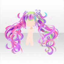 (Hairstyle) Glittery Zombie Bandage Ribbon Twin Hair ver.A pink