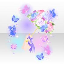 (Avatar Decor) Flower Umbrella & Butterflies ver.A purple