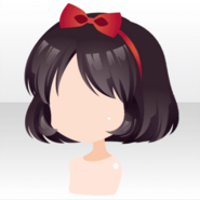 (Hairstyle) Snow White Bob Hair with Ribbon Headband ver.A black