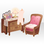 (Avatar Decor) Detective Desk and Chair ver.A pink