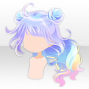 (Hairstyle) Rainbow Rabbit Buns on Wavy Hair ver.A purple