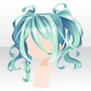(Hairstyle) Snake Princess Wavy Twin Tails Hair ver.A green