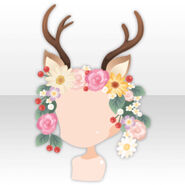 (Head Accessories) Bambi Horns on Flower Crown ver.A brown