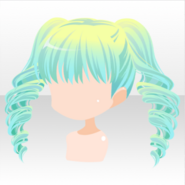 (Hairstyle) Planet Girl Curly Twin Tail Hair ver.A green