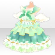 (Tops) Fluffy Feather Idol One-Piece ver.A green