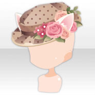 (Head Accessories) Cat Ears & Flowers on Tea Party Hat ver.A brown