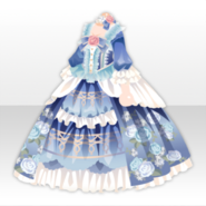 (Tops) Classic Rococo Embroidery & Lace on Long Dress ver.A blue
