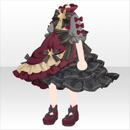 (Tops) Champignon Frilled Long Dress ver.A red