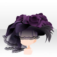 (Head Accessories) Dark Rose Volume Veil Hat ver.A black