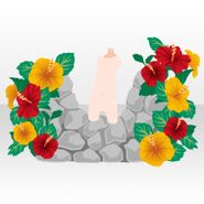 (Body Accessories) Summer Island Hibiscus Stone Wall ver.A red