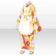 (Tops) Taisho Roman Frilled Apron on Kimono ver.A yellow