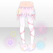 (Pant&Skirt) Night Dress Bows on Tights and Fluffy Slippers ver.A white